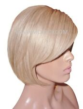 Glueless Remy Human Hair Wig Front Lace Short Bob Blonde 16 Brown 6 Roots Fringe