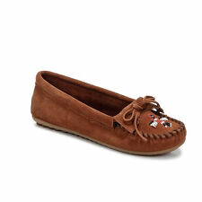 Minnetonka Thunderbird II Brown Chestnut Womens Suede Moccassins Flat Shoes NEW