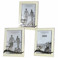 Silver Plated & Ivory Double Heart Anniversary Photo Frame / Diamantes 25 50 60