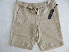 Willi Smith Womens Khaki Beige Belted Casual Dress Shorts Sz 8 Medium NWT
