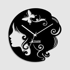 Butterfly Lady Designer Wall Clock -LaserCraftStore-LCS-A1013 Multi color
