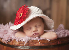 Hand Crochet Baby Sun Hat Wire Brimmed & Flower Cotton Girl Ecru 0-6m Photo Prop