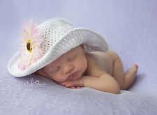 Hand Crochet Baby Sun Hat Wire Brimmed Flower Cotton Girl White 0-6m Photo Prop