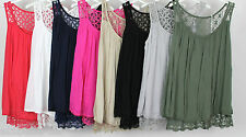 New Italian Ladies Lagenlook Quirky Lace Back Summer Sleeveless Vest Top