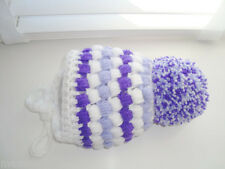 baby girl hat , crochet , hand made , white , violet  ,  purple mixed  pom pom