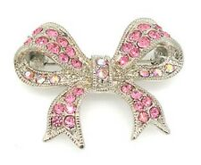New Silver Tone Austrian AB Crystal Bow Tie Brooch in Gift Box
