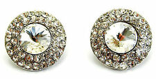 New Silver Tone 2cm Round Clear Pave Crystal Stud Earrings Wedding Prom