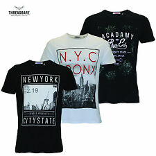 T-Shirt da uomo New York Stampa Girocollo Manica Corta 100% Cotone Top Estate