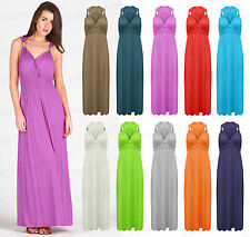 Womens Ladies Girls Plain Spring Coil Sleeveless Maxi Stretch Dress Size 8-16.