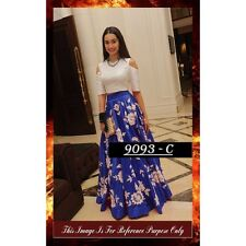 Bollywood Replica - Designer Blue & White Party Wear Crop Top Lehenga - 7270