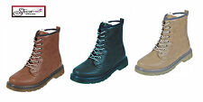New Womens Ladies LACE UP BOOTS Military Combat WINTER Army Ankle SHOES UK Sizes