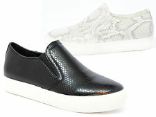 Girls Canvas Trainers Low Top Womens Casual Snake Fitness Slip On Shoes Sizes