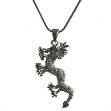 New Crystal Oriental Style Dragon Charm Pendant Necklace in Gift Box