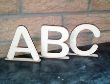 Wooden 100mm Letters On Stand Craft Shape Desk Top Name Arial Letters #128