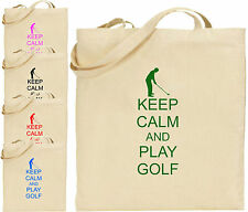 Keep Calm and Play Golf Grande cotone Borsa shopper cool divertente