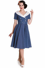 HELL BUNNY CLAUDIA 50'S DRESS BLUE ROCKABILLY POLKA DOT VINTAGE CLASSIC SPRING
