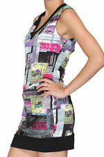 Women Ladies Sleeveless New York Subway Print V Neck Slim Fit Dress 8 10 12