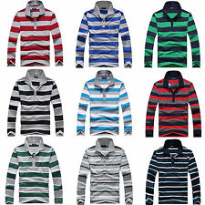 Men Cotton Striped Tee T-Shirt Full Sleeves Collar Neck Polo Shirt Spring Summer
