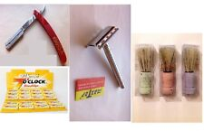 Straight Cut Throat shavette Gillette Blades , Safety Razor , Butterfly , Brush