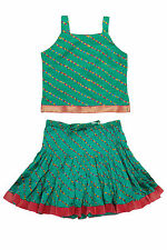 Girl's Kids Dress Baby Traditional Clothing Green Color Lehenga Choli Dress