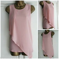 NEW EX DOROTHY PERKINS PALE PINK ASYMMETRIC PLEATED DRAPE SUMMER TOP 8 - 20