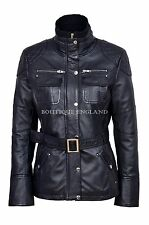 New Ladies 9345 Black Slim Fit Soft Leather Jacket Casual Military Collar Rock