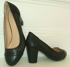 BN SIZE 3 4 5 6 7 8 BLACK PATENT LOW MID HEEL COMFY SLINGBACK FORMAL COURT SHOES