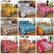 IndianOnlineMall 100 % Cotton Double bed floral Bed-sheet with 2 Pillow Covers