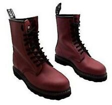 GRINDERS Cedric Red Cherry Leather Combat Boots 8 Eyelet  Derby Boot Punk