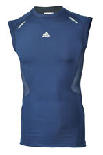 BNWT Mens ADIDAS TECH FIT TECHFIT Preparation Short Tank Top Dark Blue POWERWEB