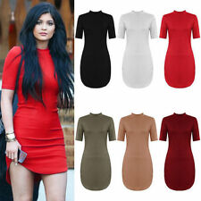 WOMEN'S LADIES CELEB SHORTS SLEEVE CURVED HEM HIGH NECK MINI BODYCON PARTY DRESS
