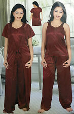 N's Stylish Sexy Hot Satin bedroom Night/Sleepwear 3pc Set Pajama-Top & Robe