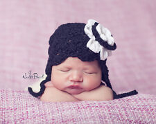 Baby Goth Emo Hand Crochet Knitted Hat Flower Earflap Cotton Photo Prop 0-24M