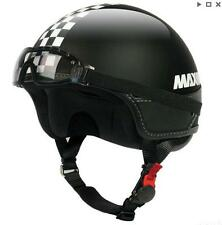 MAX Slim Jet Motorcycle Scooter Bike Helmet And Goggles Open Face Black White