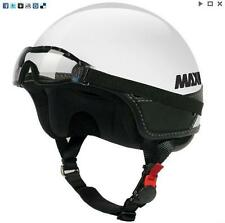 MAX Slim Naked Jet Motorcycle Scooter Bike Helmet And Goggles Open Face White