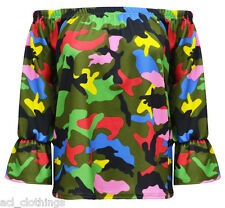 New Women's Multi Camouflage Off Shoulder Frill Bardot Top 3/4 Sleeve 8-14