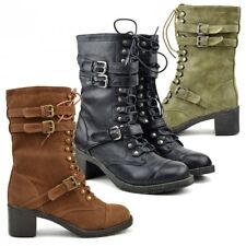 Ladies Womens Combat Army Military Worker Lace Up Heeld Biker Zip Up Ankle Boots