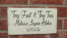 shabby vintage chic newborn  Tiny feet & tiny toes personalised sign plaque