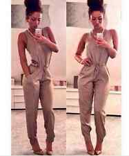 Women Bodycon Playsuit Jumpsuit Maxi Romper with Pocket Long Trousers Clubwear