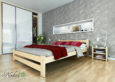 New wooden solid untreated pine 4ft6in double bedframe with slats No. F6