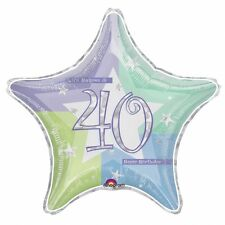 40th Birthday Age 40 Shimmer Prismatic Foil Helium Balloon