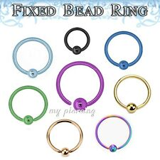 1PC 18g,16g,14g Anodized Fixed Ball Captive Bead Ring Ears Cartilage Tragus Nose