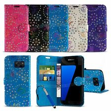 Samsung Galaxy S7 Duos Dual SIM - Textured Diamond Flower Wallet Case & Ret Pen
