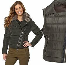 Ladies UK Plus Size 8 - 26 Olive Padded Jacket Coat / Gilet BodyWarmer Faux Fur
