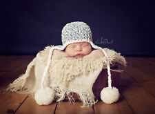 Hand Crochet Knitted Baby Hat Chunky Photo Prop Boy Pom Poms  Newborn- 12M