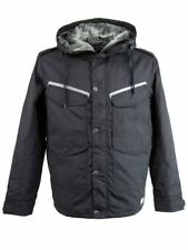 Nickelson Mens Winter Hoodie Jacket Quilted Padded Linning Black