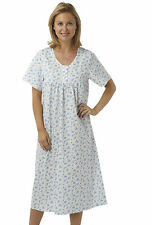 "LADIES  48""LENGTH POLY-COTTON SHORTSLEEVE ROUND NECK NIGHTDRESS SIZES10-30MN145"