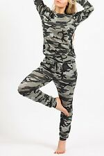 NEW LADIES WOMEN ARMY CAMOUFLAGE TOP AND BOTTOM SET TRACKSUIT DRESS SIZE 8-14