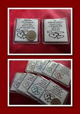 PERSONALISED Wedding Sixpence Coin Gift Favours Two Hearts Design Organza Bag