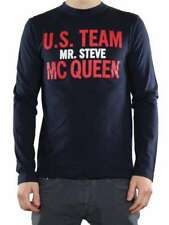 "VINTAGE 55 T-SHIRT ""TEAM MC QUEEN"" BLU M1000 01 Maniche Lunghe Uomo"